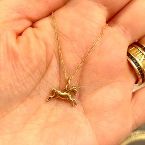 Unicorn necklace 14k yellow gold dainty delicate